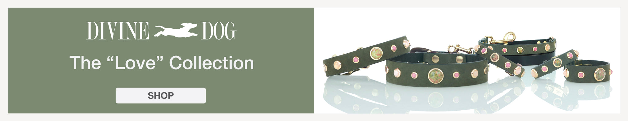 "The ""Love"" Collection of Leather Dog Collars with Gemstones"