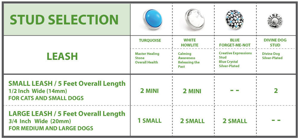 Divine Dog Arizona Collection Stud Selection for Leashes by Size