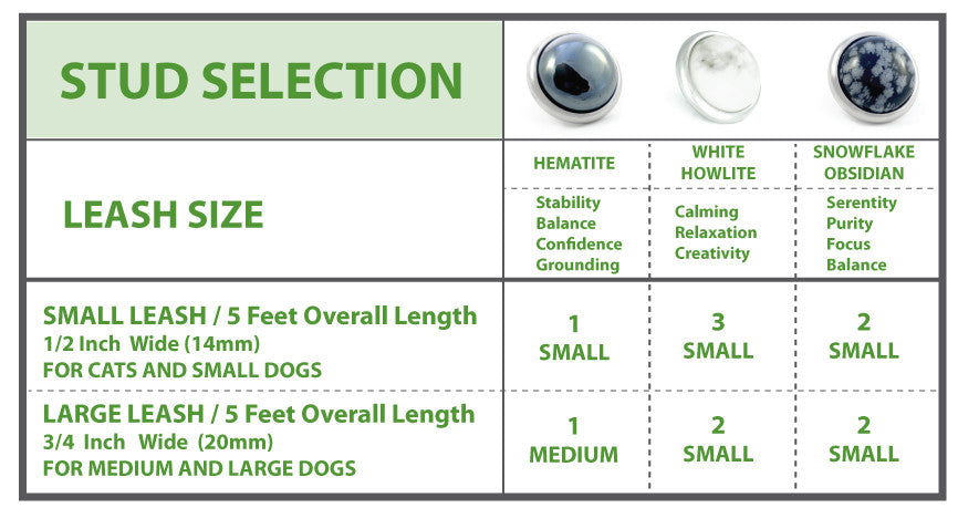 Divine Dog Leroy Dog Leashes - Stud Chart by Size