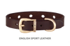 Divine Dog Collar, English Sport Leather Havana-Gold 1/2 inch Wide (14mm), Fits Neck 8.5 to 10 Inches