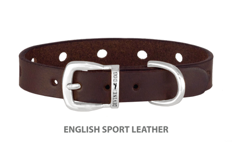 Divine Dog Collar, English Sport Leather Havana-Silver 1/2 inch Wide (14mm), Fits Neck 8.5 to 10 Inches