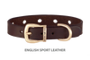 Divine Dog Collar, English Sport Leather Havana-Gold 1/2 inch Wide (14mm), Fits Neck 7 to 8.5 Inches
