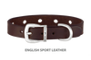 Divine Dog Collar, English Sport Leather Havana-Silver 1/2 inch Wide (14mm), Fits Neck 7 to 8.5 Inches
