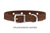 Divine Dog Collar, Nubuck Mocha-Silver 1/2 inch Wide (14mm), Fits Neck 7 to 8.5 Inches