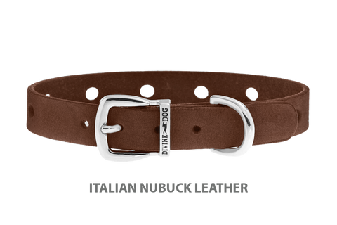 Divine Dog Collar, Nubuck Mocha-Silver 1/2 inch Wide (14mm), Fits Neck 8.5 to 10 Inches