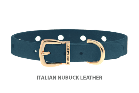 Divine Dog Collar, Nubuck New England Sea-Gold 1/2 inch Wide (14mm), Fits Neck 7 to 8.5 Inches