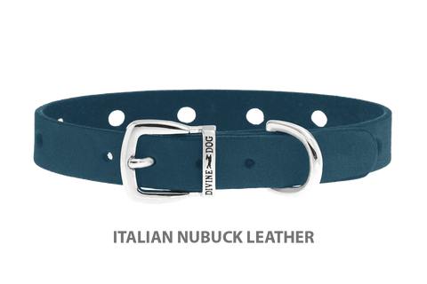 Divine Dog Collar, Nubuck New England Sea-Silver 1/2 inch Wide (14mm), Fits Neck 7 to 8.5 Inches