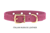 Collar for Divine Dog Studs, Perfect Pink Nubuck leather with gold plated hardware