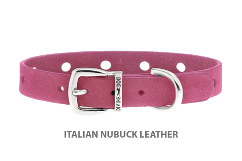 Divine Dog Collar, Nubuck Perfect Pink-Silver 1/2 inch Wide (14mm), Fits Neck 7 to 8.5 Inches