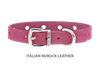 Collar for Divine Dog Studs, Pink Nubuck leather with silver plated hardware