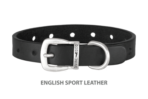 Divine Dog Collar, English Sport Leather Black-Silver 5/8 inch Wide (17mm), Fits Neck 12 to 14 Inches