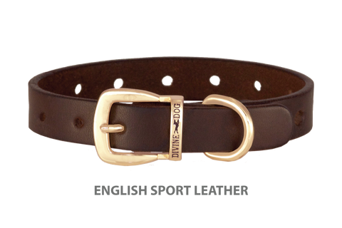 Divine Dog Collar, English Sport Leather Havana-Gold 5/8 inch Wide (17mm), Fits Neck 10 to 12 Inches