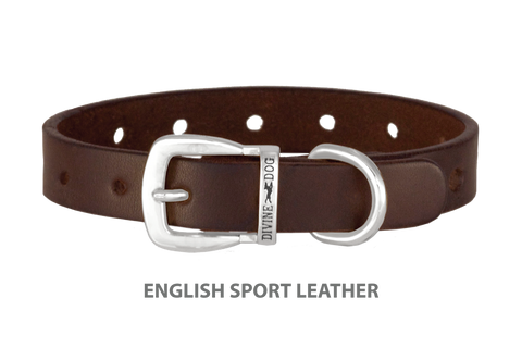 Divine Dog Collar, English Sport Leather Havana-Silver 5/8 inch Wide (17mm), Fits Neck 12 to 14 Inches