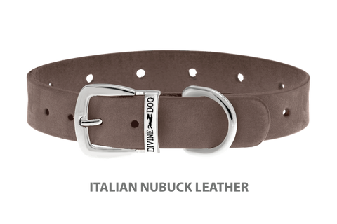 Divine Dog Collar, Nubuck Ashford Grey-Silver 5/8 inch Wide (17mm), Fits Neck 10 to 12 Inches