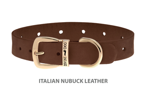 Divine Dog Collar, Nubuck Mocha-Gold 5/8 inch Wide (17mm), Fits Neck 12 to 14 Inches