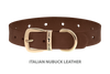 Dog Collar for Divine Dog Studs, Mocha Nubuck leather with gold plated hardware