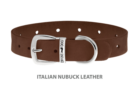 Divine Dog Collar, Nubuck Mocha-Silver 5/8 inch Wide (17mm), Fits Neck 10 to 12 Inches