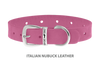 Divine Dog Collar, Nubuck Perfect Pink-Silver 5/8 inch Wide (17mm), Fits Neck 12 to 14 Inches