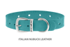 Divine Dog Collar, Nubuck Turquoise-Silver 5/8 inch Wide (17mm), Fits Neck 12 to 14 Inches
