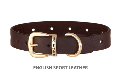 Divine Dog Collar, English Sport Leather Havana-Gold 1 inch Wide (25mm), Fits Neck 16 to 18 Inches