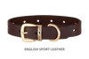 Divine Dog Collar, English Sport Leather Havana-Gold 1 inch Wide (25mm), Fits Neck 14 to 16 Inches