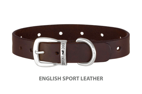 Divine Dog Collar, English Sport Leather Havana-Silver 1 inch Wide (25mm), Fits Neck 16 to 18 Inches