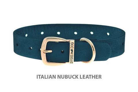 Divine Dog Collar, Nubuck New England Sea-Gold 1 inch Wide (25mm), Fits Neck 14 to 16 Inches