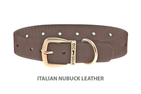 Divine Dog Collar, Nubuck Ashford Grey-Gold 1 inch Wide (25mm), Fits Neck 16 to 18 Inches