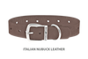 Divine Dog Collar, Nubuck Ashford Grey-Silver 1 inch Wide (25mm), Fits Neck 18 to 20 Inches