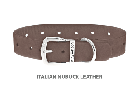 Divine Dog Collar, Nubuck Ashford Grey-Silver 1 inch Wide (25mm), Fits Neck 14 to 16 Inches