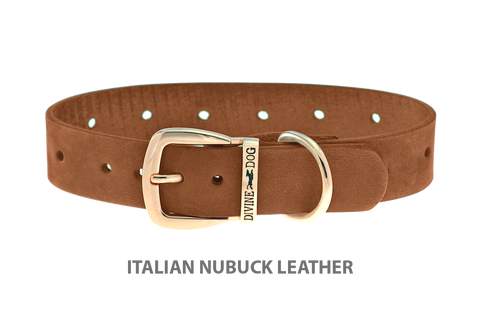 Divine Dog Collar, Nubuck Latte-Gold 1 inch Wide (25mm), Fits Neck 16 to 18 Inches