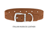 Dog Collar for Divine Dog Studs, Latte Nubuck leather with silver plated hardware