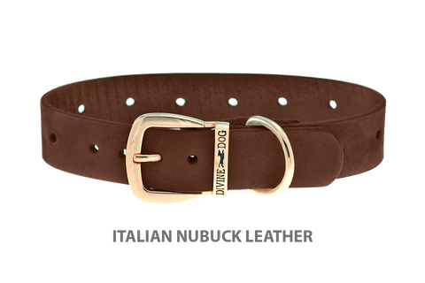 Divine Dog Collar, Nubuck Mocha-Gold 1 inch Wide (25mm), Fits Neck 14 to 16 Inches