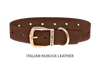 Divine Dog Collar, Nubuck Mocha-Gold 1 inch Wide (25mm), Fits Neck 16 to 18 Inches