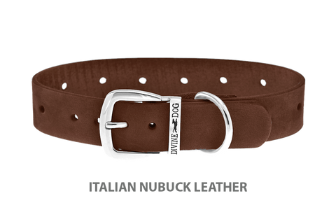 Divine Dog Collar, Nubuck Mocha-Silver 1 inch Wide (25mm), Fits Neck 18 to 20 Inches