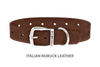 Divine Dog Collar, Nubuck Mocha-Silver 1 inch Wide (25mm), Fits Neck 14 to 16 Inches
