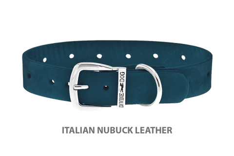 Divine Dog Collar, Nubuck New England Sea-Silver 1 inch Wide (25mm), Fits Neck 14 to 16 Inches