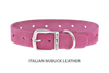 Divine Dog Collar, Nubuck Perfect Pink-Silver 1 inch Wide (25mm), Fits Neck 18 to 20 Inches