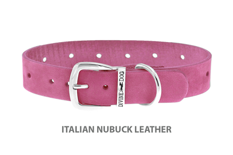Divine Dog Collar, Nubuck Perfect Pink-Silver 1 inch Wide (25mm), Fits Neck 16 to 18 Inches