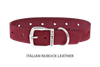 Dog Collar for Divine Dog Studs, Red Nubuck leather with silver plated hardware