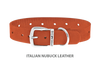 Dog Collar for Divine Dog Studs, Orange Nubuck leather with silver plated hardware