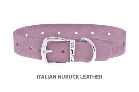 Divine Dog Collar, Nubuck Violet-Silver 1 inch Wide (25mm), Fits Neck 14 to 16 Inches