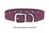 Dog Collar for Divine Dog Studs, Purple Nubuck leather with silver plated hardware
