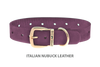 Dog Collar for Divine Dog Studs, Yummy Plummy Nubuck leather with gold plated hardware