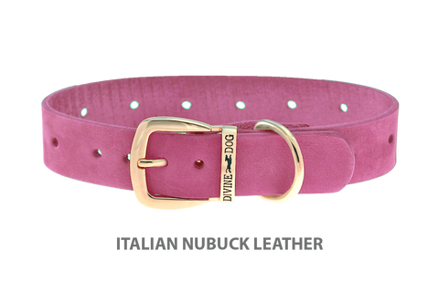 Divine Dog Collar, Nubuck Perfect Pink-Gold 1 inch Wide (25mm), Fits Neck 14 to 16 Inches