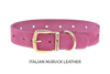 Dog Collar for Divine Dog Studs, Perfect Pink Nubuck leather with gold plated hardware