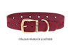 Dog Collar for Divine Dog Studs, Sunset Nubuck leather with gold plated hardware