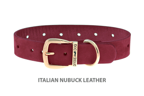 Divine Dog Collar, Nubuck Sunset-Gold 1 inch Wide (25mm), Fits Neck 14 to 16 Inches