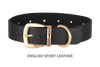 Divine Dog Collar, English Sport Leather Black-Gold 1 1/4 inch Wide (32mm), Fits Neck 16 to 18 Inches