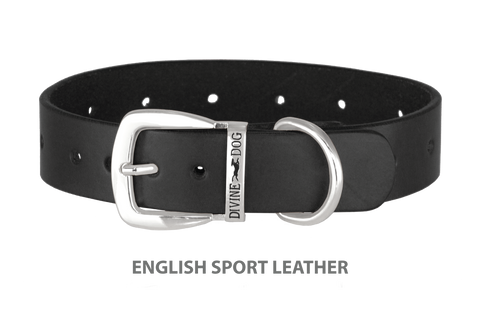 Divine Dog Collar, English Sport Leather Black-Silver 1 1/4 inch Wide (32mm), Fits Neck 16 to 18 Inches